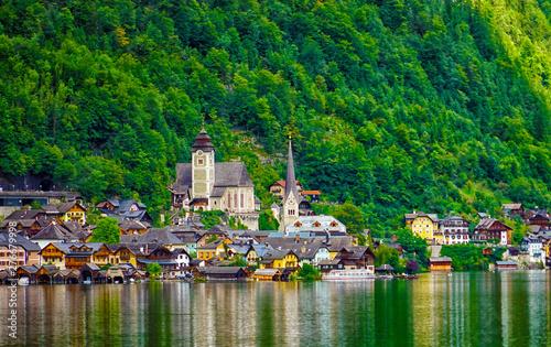 Aluminium Prints Green church on the lake