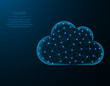 Cloud low poly design, weather in polygonal style, cloud server vector illustration on blue background