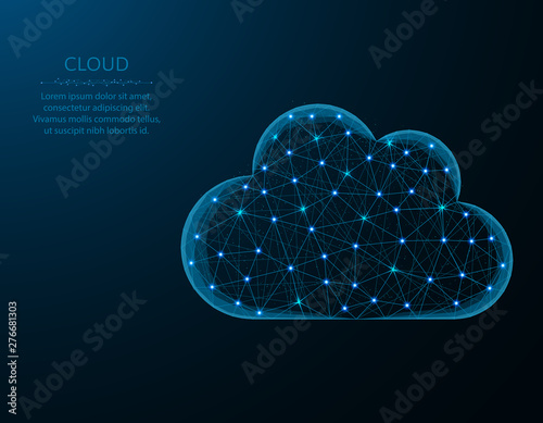 Obraz Cloud low poly design, weather in polygonal style, cloud server vector illustration on blue background - fototapety do salonu