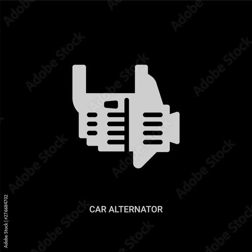 white car alternator vector icon on black background Canvas Print