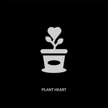 White Plant Heart Vector Icon On Black Background. Modern Flat Plant Heart From Charity Concept Vector Sign Symbol Can Be Use For Web, Mobile And Logo.