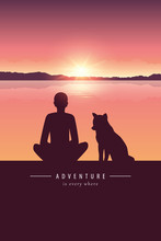 Man And Dog Silhouette By The Lake With Mountain Landscape At Sunset Adventure Design Vector Illustration EPS10