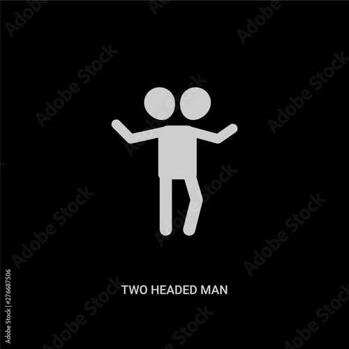 Photo  white two headed man vector icon on black background