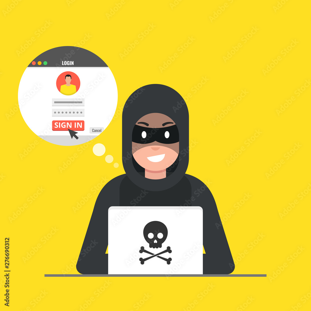 Fototapety, obrazy: Hacker sitting at the desktop and hacking user login. Vector illustration.