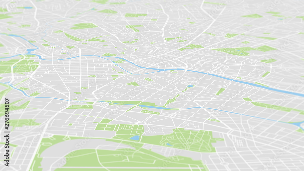 Fototapety, obrazy: Aerial view City map Berlin, color detailed plan, urban grid in perspective