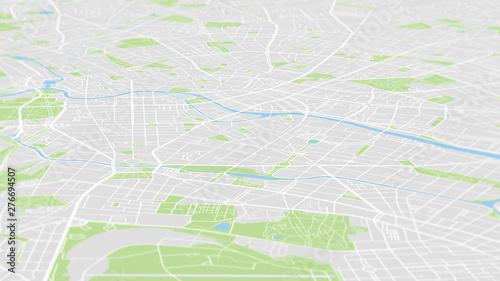 Fotografía  Aerial view City map Berlin, color detailed plan, urban grid in perspective