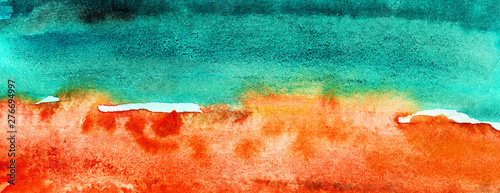 Foto auf AluDibond Rotglühen Watercolor Abstract Beach