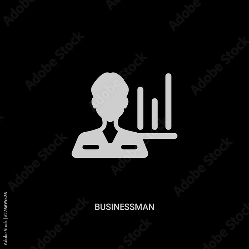 white businessman vector icon on black background Canvas Print