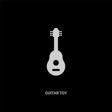 White Guitar Toy Vector Icon On Black Background. Modern Flat Guitar Toy From Toys Concept Vector Sign Symbol Can Be Use For Web, Mobile And Logo.