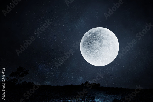 Photographie  Full moon night sky background