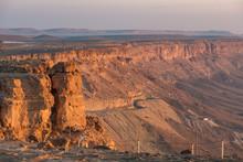 Sunrise In The Negev Desert. Makhtesh Ramon Crater In Israel