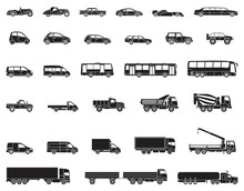 Detailed Icons Of Cars, Buses And Trucks Of Various Types. Vector Illustration