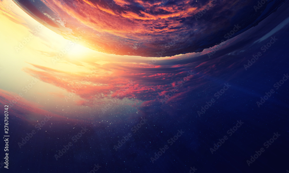 Fototapety, obrazy: Sunrise on planet orbit, space beauty