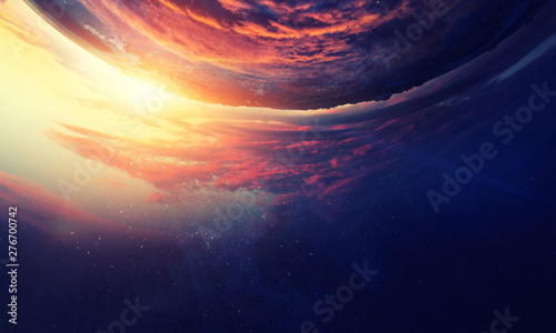 Canvas Prints Sunset Sunrise on planet orbit, space beauty