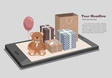 Mobile Online Shopping Isometr...