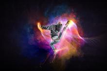 Modern Female Dancer Jumping I...
