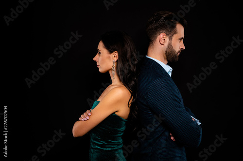 Photo Close up side profile photo amazing pair she her classy he him his macho stand b