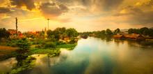 Sunset Over Kwai River, Kanchanaburi, Thailand. Panorama