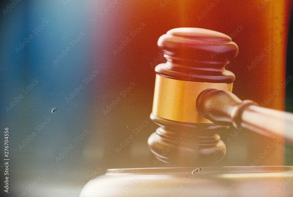 Fototapety, obrazy: Close up of a wooden brass bound gavel
