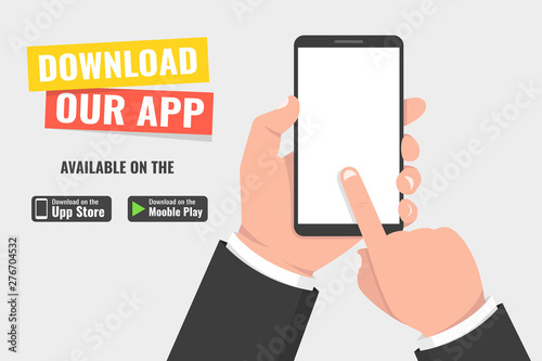 Obraz Download page of the mobile app. Hand holding smartphone and touching screen. Vector illustration. - fototapety do salonu