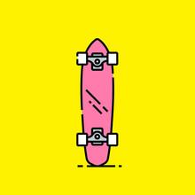 Short Skateboard Line Icon. Retro Pink Mini Board. Old School Cruiser Shortboard Symbol Isolated On Yellow Background. Vector Illustration.