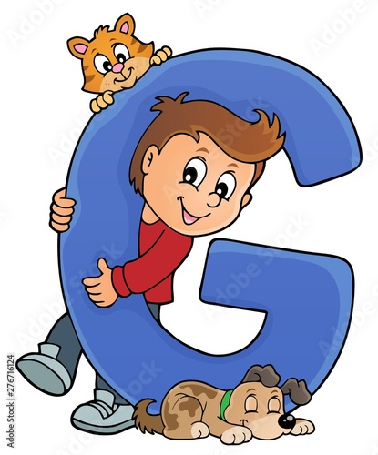 Fotobehang Voor kinderen Boy and pets with letter G