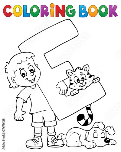 Fotobehang Voor kinderen Coloring book boy and pets by letter E