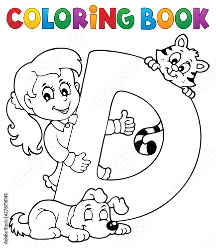 Deurstickers Voor kinderen Coloring book girl and pets by letter D