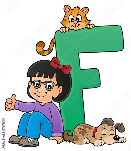 Fotobehang Voor kinderen Girl and pets with letter F