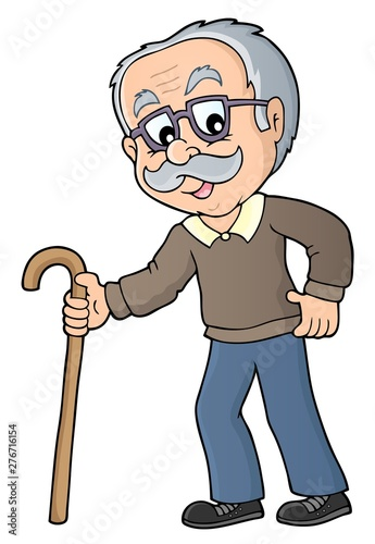 Deurstickers Voor kinderen Grandpa with walking stick image 1