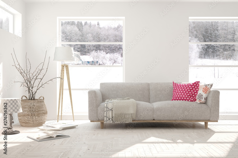 Fototapety, obrazy: Stylish room in white color with sofa and winter landscape in window. Scandinavian interior design. 3D illustration