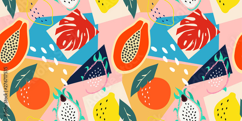 Contemporary abstract floral seamless pattern. Modern exotic tropical fruits and plants. Vector colored design. - 276717535