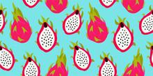 Dragon Fruit Pattern. Tropical Vector Seamless Texture.