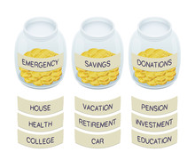 Coins In Jars With Labels - Financial Concept. Isometric Vector Illustration