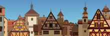 Background Of A Drawn European City With Half Timbered Houses