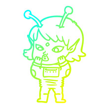 Cold Gradient Line Drawing Pretty Cartoon Nervous Alien Girl