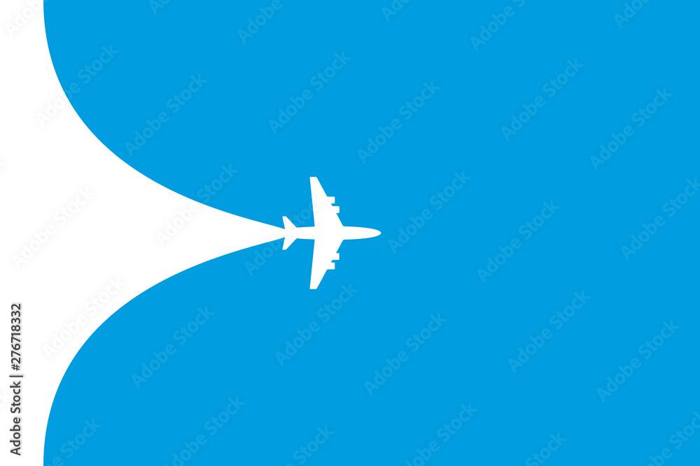 Fototapety, obrazy: White plane symbol on a blue background. Airplane flight path banner