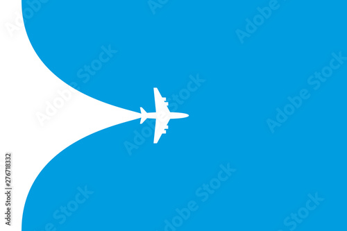 White plane symbol on a blue background. Airplane flight path banner