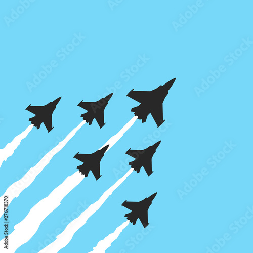 Military fighter jets on a blue background Canvas Print