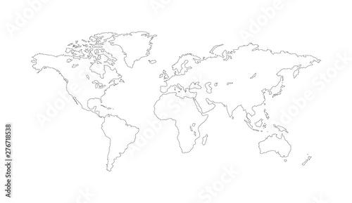 World map outline. Planet Earth vector line illustration.