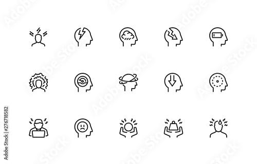Valokuvatapetti Stress and Depression Related Vector Icon Set