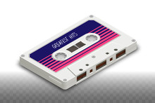 Isometric Realistic Isolated White Compact Cassette - 80s Retro