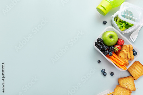 Healthy lunch to go packed in lunch box Wallpaper Mural