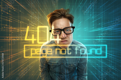 Nerd erhält 404 Fehler Benachrichtigung. Wallpaper Mural