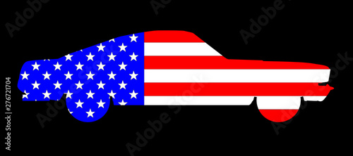 Very Fast Old Glory Car Canvas Print