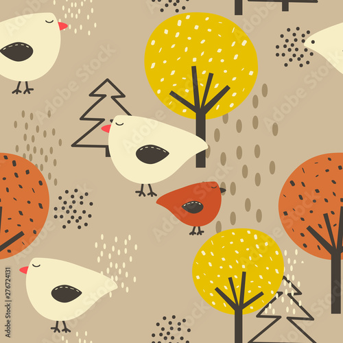 Birds, trees, hand drawn backdrop. Colorful seamless pattern. Decorative cute wallpaper, good for printing. Overlapping background vector. Design illustration