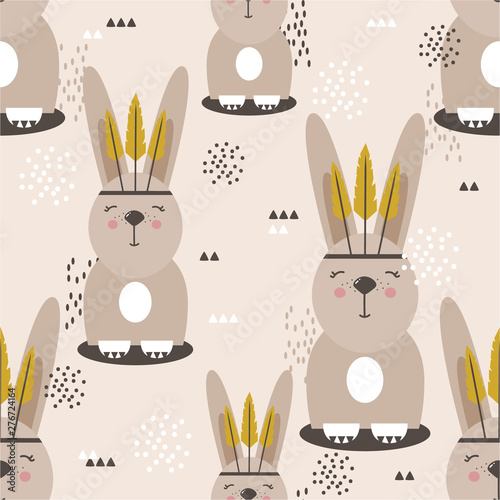 Rabbits with feathers, hand drawn backdrop. Colorful seamless pattern with muzzles of animals. Decorative cute wallpaper, good for printing. Overlapping background vector. Design illustration, indians