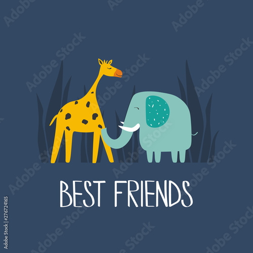 Illustration with giraffe, elephant and english text, poster design. Colorful background vector. Best friends, funny concept. Cartoon wallpaper. Hand drawn backdrop