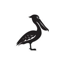 Side Profile View Vector Pelican Illustration