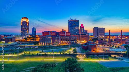 Obraz Winston-Salem North Carolina Downtown Skyline Aerial at Sunset - fototapety do salonu